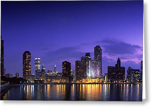 Pinkish Greeting Cards - Night Skyline Chicago Il Usa Greeting Card by Panoramic Images