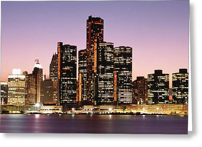 Moonrise Greeting Cards - Night Skyline Detroit Mi Greeting Card by Panoramic Images