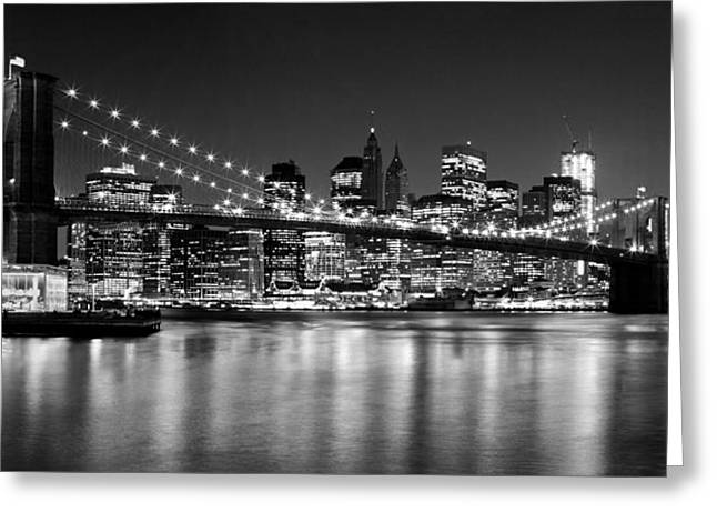 Trade Greeting Cards - Night Skyline MANHATTAN Brooklyn Bridge bw Greeting Card by Melanie Viola