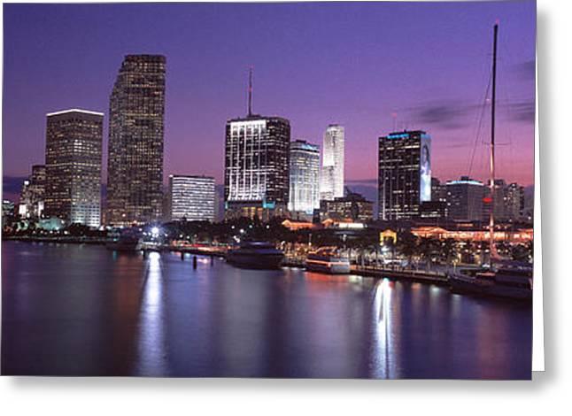 Miami Skyline Greeting Cards - Night Skyline Miami Fl Usa Greeting Card by Panoramic Images