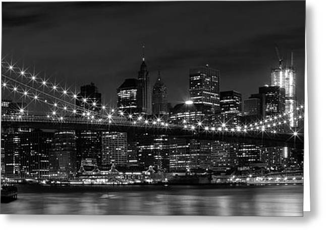 Illuminated Greeting Cards - Night-Skyline NEW YORK CITY bw Greeting Card by Melanie Viola