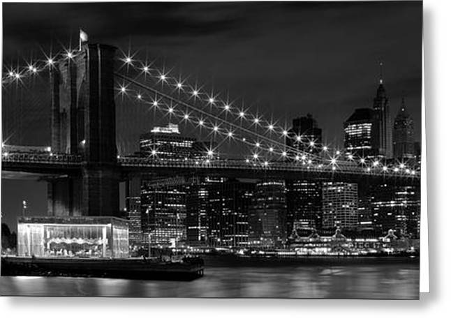 Panoramic Greeting Cards - Night-Skyline NEW YORK CITY bw Greeting Card by Melanie Viola
