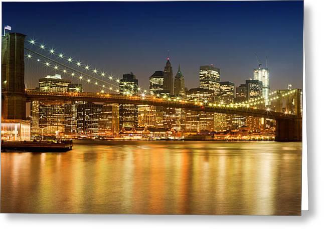 Evening Lights Greeting Cards - Night-Skyline NEW YORK CITY Greeting Card by Melanie Viola