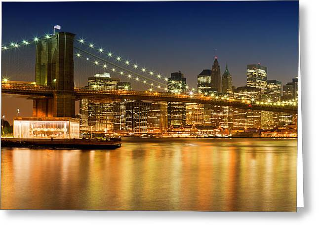 Ground Zero Greeting Cards - Night-Skyline NEW YORK CITY Greeting Card by Melanie Viola