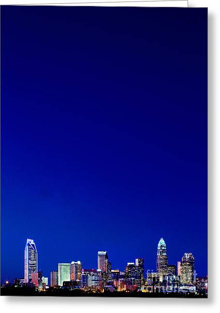 Mecklenburg County Greeting Cards - Night skyline of Charlotte NC verticle Greeting Card by Patrick Schneider