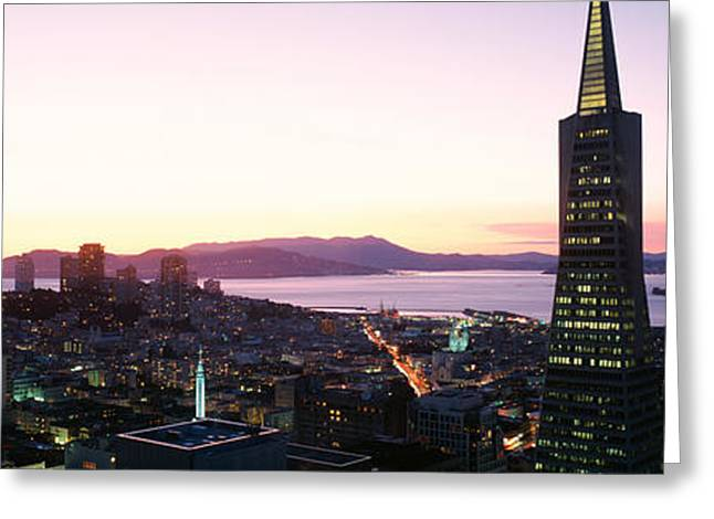 Sprawl Greeting Cards - Night Skyline With View Of Transamerica Greeting Card by Panoramic Images