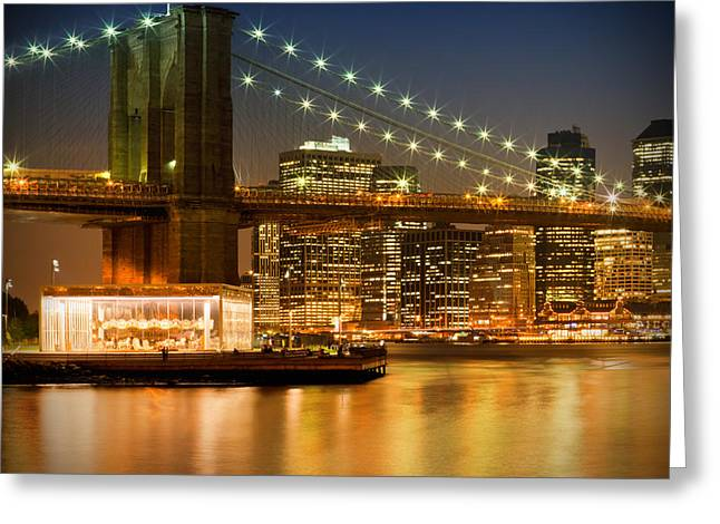 Facades Greeting Cards - Night-Skylines NEW YORK CITY Greeting Card by Melanie Viola