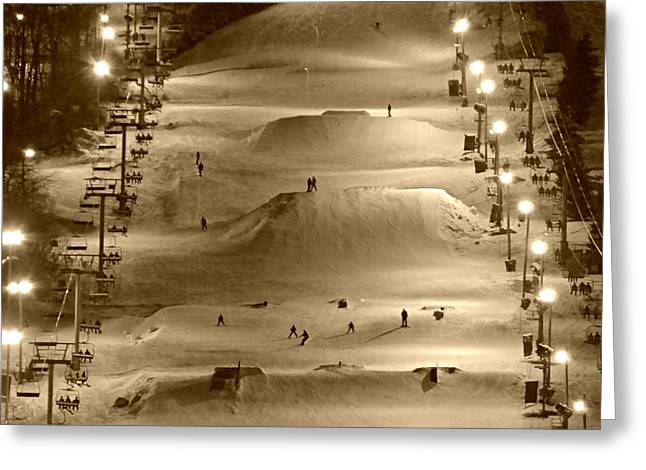Snow Boarder Greeting Cards - Night Slope Greeting Card by Brenda Conrad