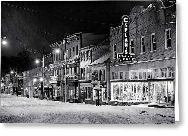 Ellicott Greeting Cards - Night Snow Ellicott City Maryland Greeting Card by Geoffrey Baker