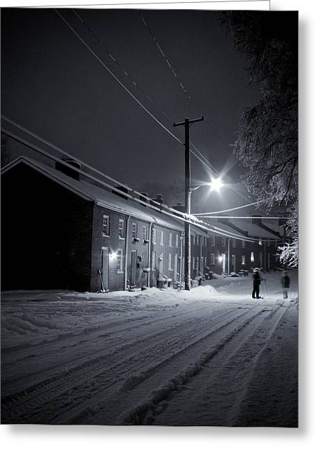 Row Homes Greeting Cards - Night Snow in Oella Greeting Card by Geoffrey Baker