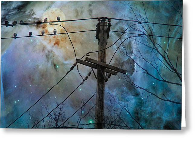 Telephone Wires Greeting Cards - Night Spark Greeting Card by Gothicolors Donna Snyder