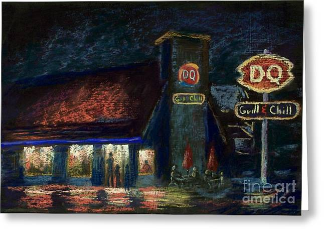 Night Scenes Pastels Greeting Cards - Night Spot Greeting Card by Bruce Schrader