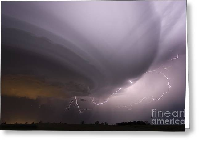Wheat Field Sky Pictures Greeting Cards - Night storm in Oklahoma Greeting Card by Jeremy Holmes