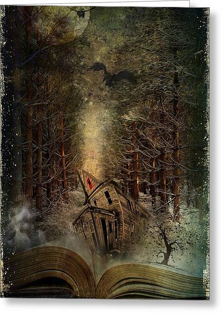 Crow Mixed Media Greeting Cards - Night Story Greeting Card by Svetlana Sewell