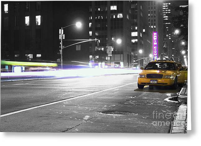 Traffic Greeting Cards - Night Street Greeting Card by Dan Holm