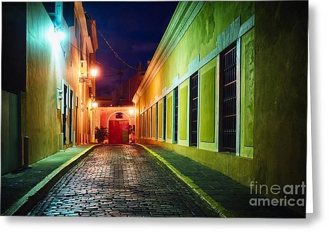 Old San Juan Greeting Cards - Night Street Scenic in Old San Juan  Greeting Card by George Oze