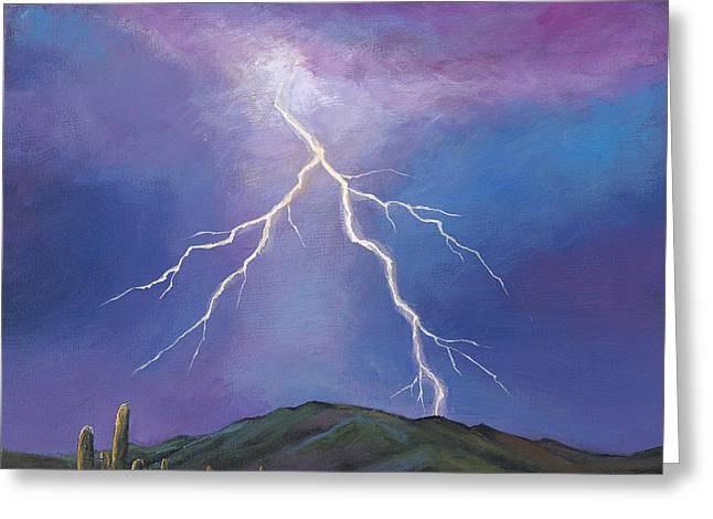 Santa Fe Desert Greeting Cards - Night Strike Greeting Card by Johnathan Harris