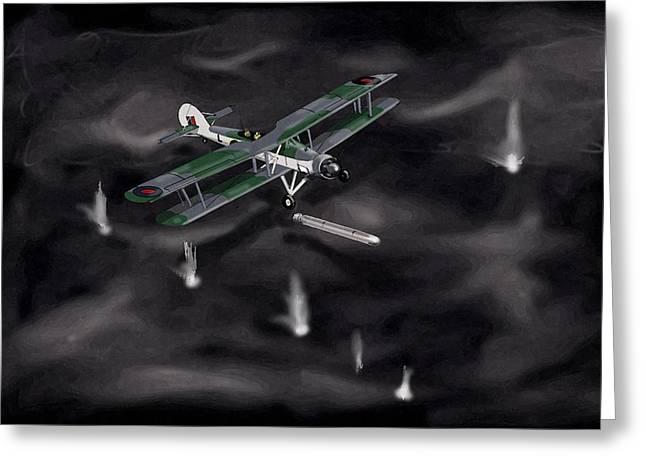 Swordfish Paintings Greeting Cards - Night Strike Swordfish 1941 Greeting Card by Paul Hughes