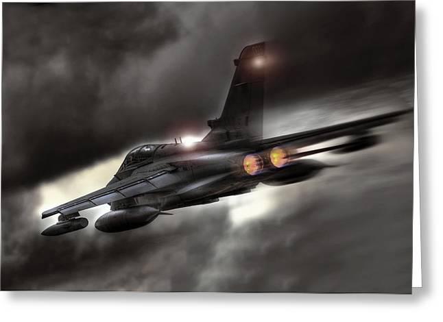 Raid Greeting Cards - Night Strike Tornado Greeting Card by Peter Chilelli