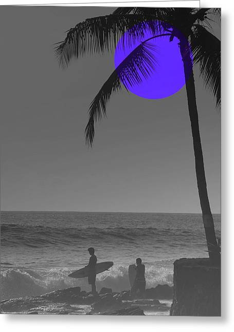 Ocean Landscape Greeting Cards - Night Surf Greeting Card by Athala Carole Bruckner