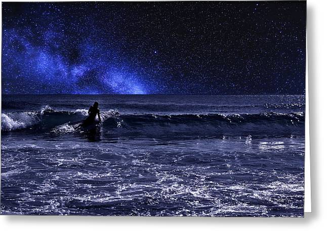 Surfing Art Greeting Cards - Night Surfer Greeting Card by Laura  Fasulo