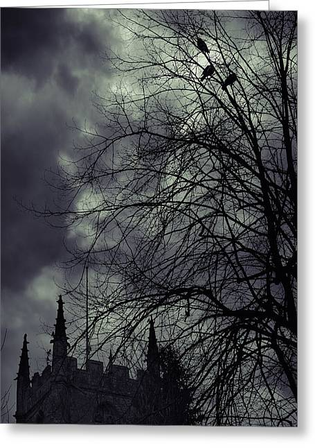 Gothic Horror Greeting Cards - Night Greeting Card by Svetlana Sewell