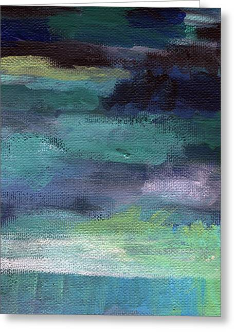 Green Living Greeting Cards - Night Swim- abstract art Greeting Card by Linda Woods