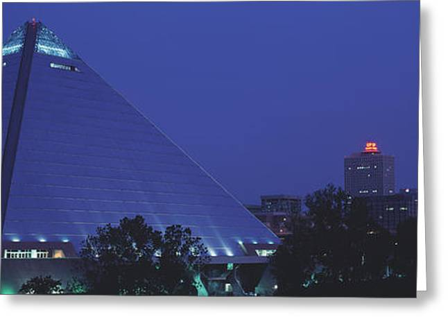 Pyramids Greeting Cards - Night The Pyramid And Skyline Memphis Greeting Card by Panoramic Images