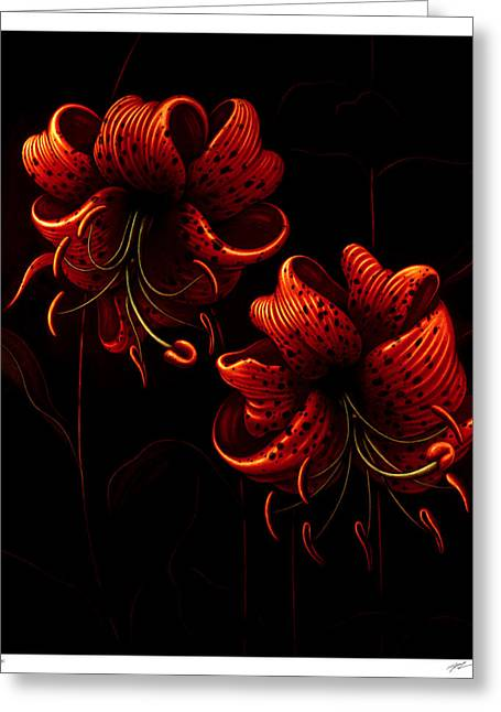 Night Tiger Lilies Greeting Card by Philip Slagter