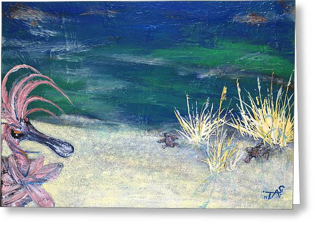 Sea Grass In The Sand Greeting Cards - Night Time at the Beach Part 1 of 2 Greeting Card by Troy Schroeder