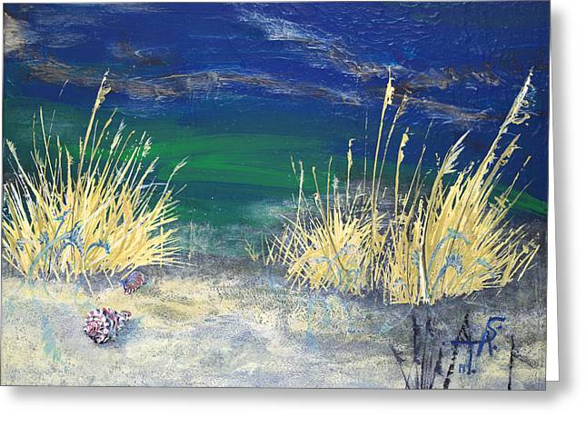 Sea Grass In The Sand Greeting Cards - Night Time at the Beach Part 2 of 2 Greeting Card by Troy Schroeder