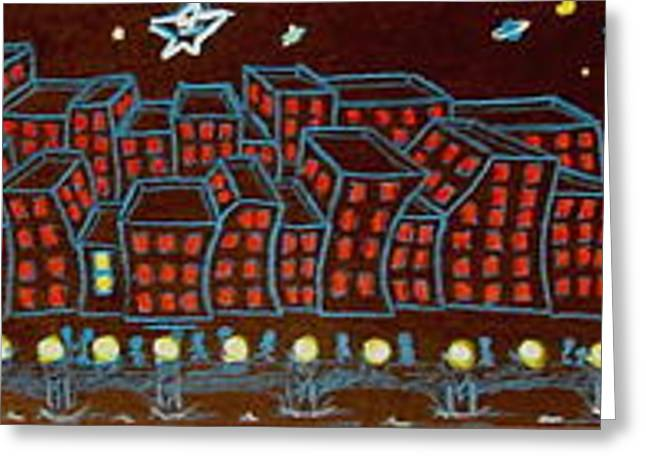 South Philadelphia Mixed Media Greeting Cards - Night Time Big City Greeting Card by Joseph Hawkins