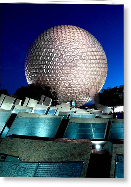 Geodesic Greeting Cards - Night Time Geo Greeting Card by Greg Fortier