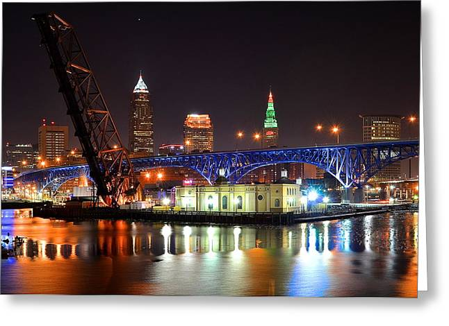 Town Square Greeting Cards - Night Time in Cleveland Greeting Card by Frozen in Time Fine Art Photography