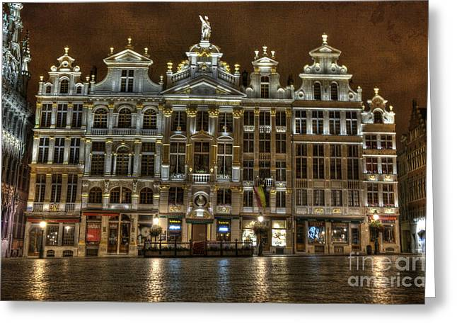 Open Market Greeting Cards - Night Time in Grand Place Greeting Card by Juli Scalzi