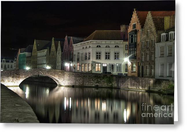 Bruges Greeting Cards - Night Time on the Canal Greeting Card by Juli Scalzi