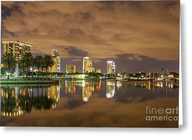 St Petersburg Florida Greeting Cards - Night time splendor Greeting Card by Judy Rogero