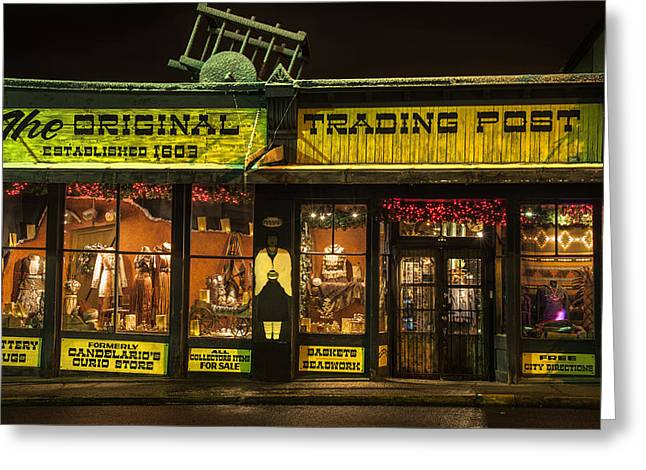 Original Pottery Greeting Cards - Night time Trading Post in Santa Fe New Mexico Greeting Card by Dave Dilli