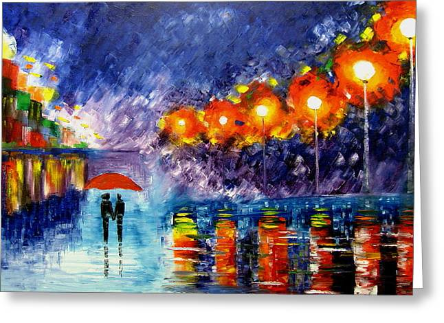 Night Time Walk Greeting Card by Mariana Stauffer
