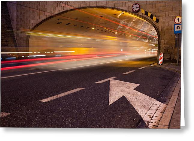 Solidarity Greeting Cards - Night Traffic Light Trails in Warsaw Greeting Card by Artur Bogacki