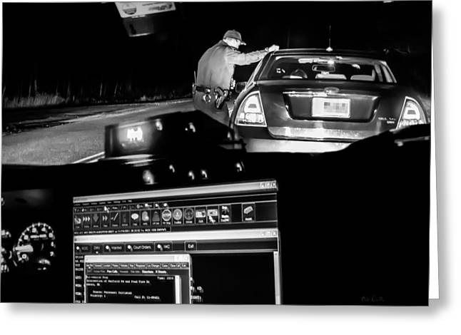 Night Traffic Stop Greeting Card by Bob Orsillo