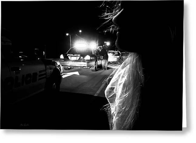 Police Cruiser Greeting Cards - Night Traffic Stop Three Greeting Card by Bob Orsillo