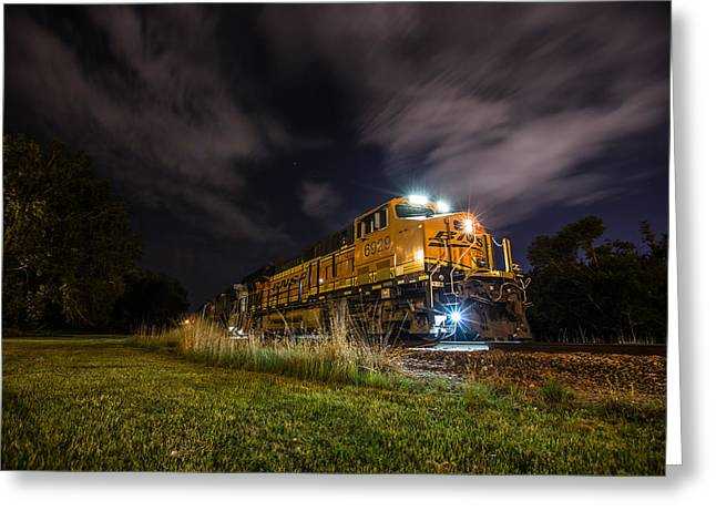 Night Shot Greeting Cards - Night Train 3 Greeting Card by Aaron J Groen