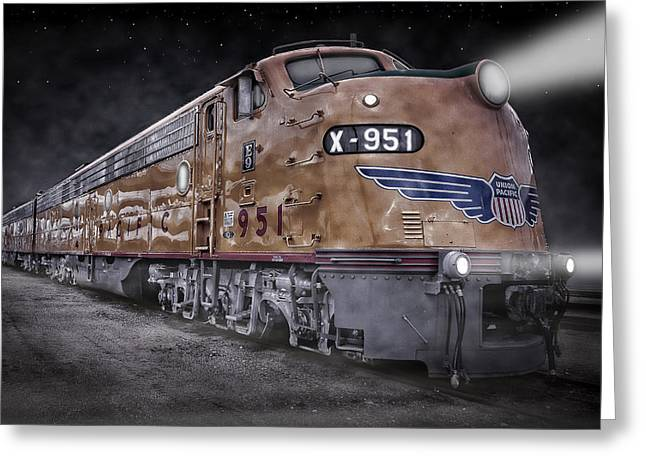 Diesel Locomotives Greeting Cards - Night Train Coming Greeting Card by Ken Smith