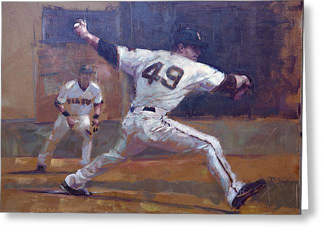Baseball Paintings Greeting Cards - Night Train Greeting Card by Darren Kerr