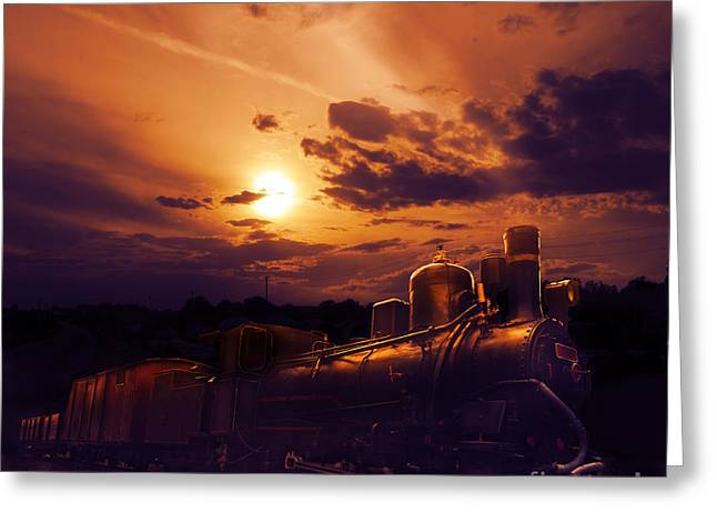 Skies Pyrography Greeting Cards - Night Train Greeting Card by Jelena Jovanovic
