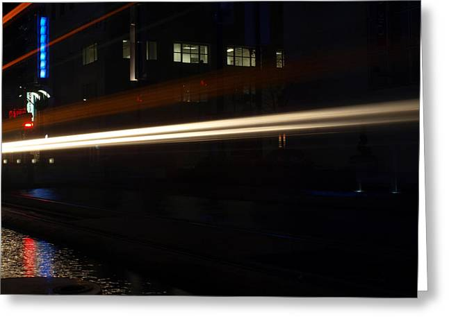 Redlight Greeting Cards - Night Train Greeting Card by Joshua House