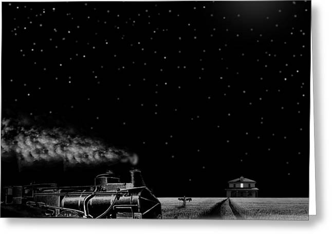 Caboose Greeting Cards - Night Train Greeting Card by Larry Butterworth