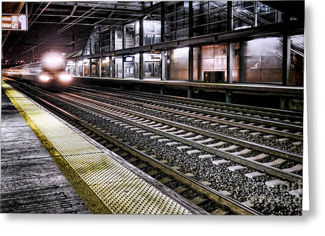 Train Stations Greeting Cards - Night Train Greeting Card by Olivier Le Queinec
