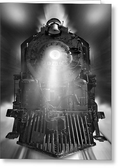 Vertical Digital Art Greeting Cards - Night Train On The Move Greeting Card by Mike McGlothlen